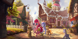 Size: 5600x2854 | Tagged: absurd res, artist:devinian, background pony, balloon, bon bon, building, button mash, carrot top, cart, confetti, cute, derpy hooves, dinky hooves, earth pony, eyes closed, fence, flower shop, fruit, ginger snap, golden harvest, gummy, happy, hat, lyra heartstrings, minuette, open mouth, pinkie pie, pony, ponyville, raised hoof, raised leg, rearing, safe, scenery, scenery porn, smiling, sugarcube corner, sweetie drops, unicorn, walking, waving