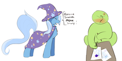 Size: 2564x1296 | Tagged: safe, artist:fluffleduckle, trixie, oc, oc:anon, pony, unicorn, blushing, cape, chest fluff, clothes, cross-popping veins, dialogue, drawing, eyes closed, hat, paper, simple background, text, trixie's cape, trixie's hat, truth, white background