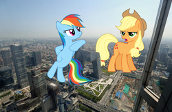 Size: 1600x1049 | Tagged: safe, artist:dashiesparkle, artist:djdavid98 edits, artist:logan859, applejack, rainbow dash, earth pony, pegasus, pony, beijing, china, giant pony, highrise ponies, irl, macro, photo, ponies in real life