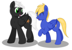 Size: 1300x900 | Tagged: safe, artist:thepianistmare, oc, oc only, oc:electro blitz, oc:summer breeze, commission, female, male, oc x oc, straight