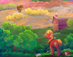 Size: 2100x1650 | Tagged: safe, artist:viwrastupr, big macintosh, earth pony, pony, apple, apple tree, barn, bucket, color porn, farm, food, fruit, male, orchard, scenery, scenery porn, solo, stallion, sweet apple acres, tree