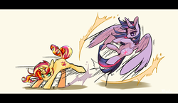Size: 1900x1100 | Tagged: safe, artist:phyllismi, sunset shimmer, twilight sparkle, alicorn, pony, unicorn, colored pupils, dodge, duo, fight, flying, kick, large wings, letterboxing, motion lines, pixiv, raised leg, shadow, simple background, sparring, twilight sparkle (alicorn), white background, widescreen, wings