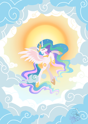 Size: 1240x1748   Tagged: safe, artist:ogre, princess celestia, alicorn, pony, cloud, eyes closed, female, flying, mare, pixiv, sky, solo, sun