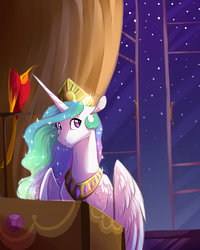 Size: 900x1125 | Tagged: safe, artist:vindhov, philomena, princess celestia, alicorn, phoenix, pony, crown, jewelry, looking back, night, pet, regalia, starry night, stars