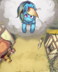 Size: 1000x1250 | Tagged: safe, artist:lexx2dot0, rainbow dash, oc, pony, building, cloud, looking at something, looking up, open mouth, perspective, prone, rain, scenery, top down