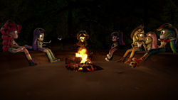 Size: 3840x2160   Tagged: safe, artist:xdxdavid, applejack, fluttershy, pinkie pie, rainbow dash, rarity, sci-twi, starlight glimmer, sunset shimmer, twilight sparkle, equestria girls, legend of everfree, 3d, ball, boots, camper, campfire, clothes, cowboy boots, cute, denim shorts, equestria girls-ified, fire, football, hiding, legs, log, pants, shoes, shorts, sitting, snack, sneakers, socks, source filmmaker