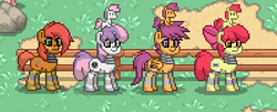 Size: 398x160 | Tagged: safe, apple bloom, babs seed, scootaloo, sweetie belle, pony, robot, robot pony, pony town, apple bloom bot, bot seed, clothes, cutie mark crusaders, fence, plushie, scootabot, socks, striped socks, sweetie bot