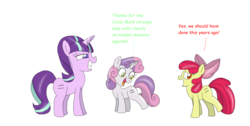 Size: 2024x1024 | Tagged: safe, artist:starlightflopple, apple bloom, starlight glimmer, sweetie belle, equal cutie mark, equalized, evil grin, grin, simple background, smiling, this will end in communism, white background