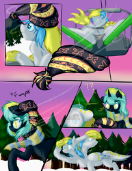 Size: 1275x1650   Tagged: safe, artist:frist44, oc, oc only, oc:cirrus sky, oc:electro current, hippogriff, original species, beanie, cirrent, clothes, comic, hat, question mark, scarf, ski lift, skiing, skis, snow, talons