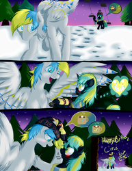 Size: 1275x1650 | Tagged: safe, artist:frist44, oc, oc only, oc:cirrus sky, oc:electro current, hippogriff, original species, beanie, cirrent, clothes, comic, digital multimeter, happy birthday, hat, heart, question mark, scarf, shipping, ski lift, skiing, skis, snow, spread wings, talons