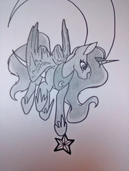 Size: 3120x4160 | Tagged: safe, artist:themissblacky, princess luna, absurd resolution, color correction, crescent moon, female, looking at something, looking down, monochrome, moon, raised hoof, solo, stars, tangible heavenly object, traditional art