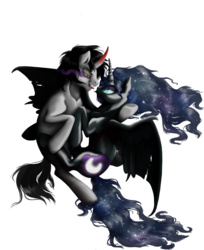Size: 3211x3942   Tagged: safe, artist:shagonese, king sombra, nightmare moon, female, hug, looking at each other, lumbra, male, shipping, simple background, sombramoon, straight, tongue out, transparent background, winghug