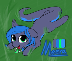 Size: 7560x6400   Tagged: safe, artist:ampderg, oc, oc only, oc:meera, alp-luachra, original species, absurd resolution, cute, ear fluff, emerald, floppy ears, grass, happy, jewelry, looking at you, lying down, necklace, prehensile tail, reference sheet, solo