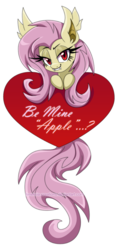 Size: 609x1283 | Tagged: safe, artist:extra-fenix, fluttershy, bat pony, pony, female, flutterbat, grin, heart, race swap, simple background, smiling, solo, transparent background, valentine's day card