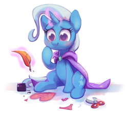 Size: 1139x1021 | Tagged: safe, artist:dawnfire, trixie, pony, unicorn, blushing, cape, clothes, cute, diatrixes, female, heart, inkwell, letter, levitation, magic, quill, scissors, simple background, sitting, smiling, solo, telekinesis, transparent background, trixie's cape, valentine, valentine's day