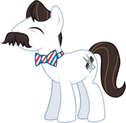 Size: 401x389 | Tagged: safe, barber groomsby, earth pony, pony, leak, bowtie, concept art, eyes closed, facial hair, male, moustache, official, simple background, solo, stallion, transparent background
