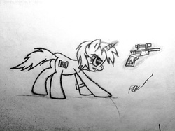 Size: 2048x1530   Tagged: safe, artist:pizzamovies, oc, oc only, oc:littlepip, pony, unicorn, fallout equestria, angry, battle tendency, black and white, butt, cutie mark, fanfic, fanfic art, female, glowing horn, grayscale, gritted teeth, gun, handgun, hooves, horn, levitation, little macintosh, magic, mare, monochrome, optical sight, pipbuck, plot, revolver, scope, simple background, solo, telekinesis, traditional art, weapon, white background