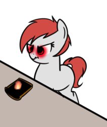 Size: 1083x1280 | Tagged: safe, artist:neuro, oc, oc only, object pony, original species, pony, toaster pony, angry, bread, burnt, cute, female, fire, food, glowing eyes, heat vision, mare, ponified, scrunchy face, simple background, solo, toast, toaster, transparent background