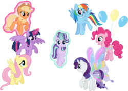 Size: 1055x757 | Tagged: safe, artist:osipush, applejack, fluttershy, pinkie pie, rainbow dash, rarity, starlight glimmer, twilight sparkle, alicorn, earth pony, pegasus, pony, unicorn, balloon, floating, flying, glimmer wings, levitation, looking at you, magic, mane six, self-levitation, simple background, smiling, spread wings, telekinesis, then watch her balloons lift her up to the sky, transparent background, twilight sparkle (alicorn), underhoof, vector, wings