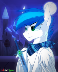 Size: 1500x1864 | Tagged: safe, artist:redchetgreen, oc, oc only, pegasus, pony, bandana, blue hair, castle, commission, full moon, green eyes, male, moon, night, serious, serious face, solo, stallion, sword, weapon