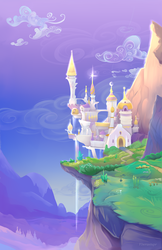Size: 1650x2550   Tagged: safe, artist:viwrastupr, background, canterlot, canterlot castle, cliff, cloud, featured image, grass, high res, mountain, mountain range, no pony, phone wallpaper, scenery, scenery porn, shiny, sky, sparkles, valley, waterfall