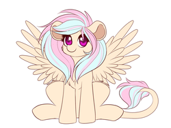 Size: 1133x853   Tagged: safe, artist:confetticakez, oc, oc only, oc:bluebelle, hippogriff, hybrid, pony, cute, female, looking at you, mare, ocbetes, simple background, sitting, smiling, solo, spread wings, white background