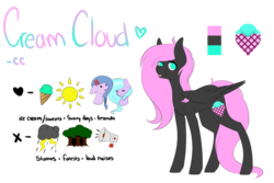 Size: 4500x3000 | Tagged: safe, artist:itsizzybel, oc, oc only, oc:claris, oc:cream cloud, oc:moonflare, pegasus, pony, absurd resolution, braid, cross-popping veins, cute, female, food, forest, ice cream, lightning, mare, megaphone, reference sheet, sun, tongue out