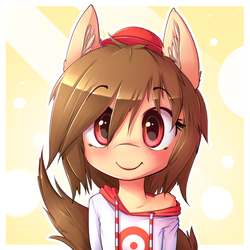 Size: 650x650 | Tagged: safe, artist:hoodie, oc, oc only, oc:fun fact, bust, clothes, cute, ear fluff, hat, hoodie, looking at you, portrait, smiling, solo