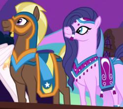 Size: 828x734 | Tagged: safe, screencap, amira, haakim, princess celestia, pony, saddle arabian, magic duel, blank flank, bridle, duo, female, male, mare, stallion, tack