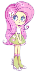 Size: 600x1180 | Tagged: safe, artist:lizbeat, fluttershy, equestria girls, boots, clothes, cute, high heel boots, legs, pretty, shyabetes, simple background, skirt, smiling, socks, solo, tanktop, transparent background
