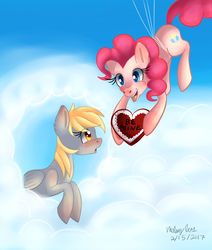 Size: 1080x1273 | Tagged: safe, artist:lamentedmusings, derpy hooves, pinkie pie, earth pony, pegasus, pony, balloon, blushing, cloud, derpie, derpypie, female, heart, lesbian, shipping