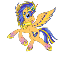 Size: 680x512 | Tagged: alicorn, artist:spyrica, crown, flash sentry, jewelry, pony, prince flash sentry, race swap, rainbow power, rainbow power-ified, regalia, safe, simple background, solo, tongue out, white background