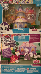 Size: 1048x1884 | Tagged: safe, hoity toity, opalescence, rarity, blind bag, carousel boutique, clothes, dress, dress form, friendship is magic collection, glasses, gown, measuring tape, my little pony logo, ribbon, sewing machine, story set, toy