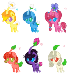 Size: 794x866 | Tagged: safe, artist:nanobun, oc, oc only, pegasus, pikmin, pony, alternate mane six, c:, chibi, colored wings, colored wingtips, crossover, cute, female, flower, leaf, male, pikmin (series), ponified, simple background, smiling, transparent background