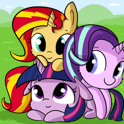 Size: 1080x1080 | Tagged: safe, artist:tjpones, starlight glimmer, sunset shimmer, twilight sparkle, alicorn, pony, unicorn, counterparts, cuddle puddle, cuddling, cute, daaaaaaaaaaaw, female, floppy ears, fluffy, glimmerbetes, hnnng, magical trio, pony pile, shimmerbetes, smiling, tjpones is trying to murder us, trio, twiabetes, twilight sparkle (alicorn), twilight's counterparts, twishimmerglimmer