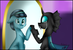 Size: 1024x702 | Tagged: artist:starshade001, changeling, crying, crystal hoof, disguise, disguised changeling, mirror, sad, safe, thorax