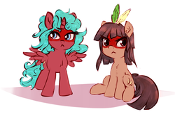 Size: 1006x661 | Tagged: safe, artist:sapsan, oc, oc only, oc:equie, oc:kuruminha, pony, brchan, feather, female, filly, mascot, native american, ponified, simple background, white background