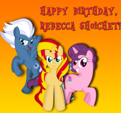 Size: 4342x4039 | Tagged: artist:cyber-murph, birthday gift, happy birthday, night glider, pony, rebecca shoichet, safe, sugar belle, sunset shimmer, tribute, voice actor
