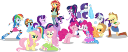 Size: 10000x4060 | Tagged: safe, artist:limedazzle, angel bunny, applejack, fluttershy, pinkie pie, rainbow dash, rarity, sci-twi, starlight glimmer, sunset shimmer, twilight sparkle, alicorn, earth pony, pegasus, pony, unicorn, equestria girls, absurd resolution, boots, bowtie, bracelet, clothes, compression shorts, cowboy boots, cowboy hat, crossover, cute, debate in the comments, denim skirt, glasses, goggles, group, hat, high heel boots, human ponidox, humane five, humane seven, humane six, jacket, jewelry, mane six, mary janes, self ponidox, shoes, simple background, skirt, smiling, socks, square crossover, stetson, tanktop, transparent background, twolight, vector, wings, wristband