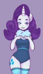 Size: 448x764 | Tagged: safe, artist:kiriiv, rarity, anthro, clothes, female, leotard, looking at you, simple background, socks, solo, thigh highs
