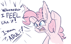 Size: 1280x800 | Tagged: safe, artist:heir-of-rick, pinkie pie, earth pony, pony, angry, cheek fluff, dialogue, ear fluff, female, impossibly large ears, open mouth, simple background, solo, underhoof, white background, yelling