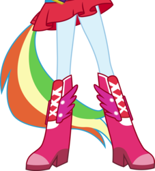 Size: 2999x3299 | Tagged: artist:teentitansfan201, boots, clothes, cropped, dress, edit, equestria girls, equestria girls (movie), fall formal outfits, high heel boots, legs, pictures of legs, ponied up, ponytail, rainbow dash, safe, simple background, skirt, solo, transparent background, vector, vector edit