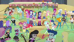 Size: 1904x1090 | Tagged: safe, screencap, apple bloom, applejack, aqua blossom, blueberry cake, bon bon, brawly beats, captain planet, cherry crash, curly winds, derpy hooves, fido, flash sentry, fluttershy, fuchsia blush, lavender lace, lyra heartstrings, microchips, mystery mint, octavia melody, paisley, photo finish, pinkie pie, pixel pizazz, rainbow dash, rarity, ringo, rover, sandalwood, scootaloo, scribble dee, snails, snips, some blue guy, spot, sweetie belle, sweetie drops, thunderbass, trixie, twilight sparkle, valhallen, violet blurr, wiz kid, alicorn, equestria girls, rainbow rocks, apple bloom's bow, background human, backpack, balloon, boots, bow, bracelet, cello, clothes, cowboy boots, cup, cutie mark crusaders, diamond dudes, female, flash drive (band), glasses, gymnasium, hair bow, high heel boots, jacket, jewelry, musical instrument, punch (drink), punch bowl, scissors, shoes, sneakers, socks, straw, table, the planeteers, the rainbooms, the snapshots, tornado, trixie and the illusions, twilight sparkle (alicorn)