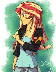 Size: 469x600 | Tagged: safe, artist:uotapo, sunset shimmer, equestria girls, 30 minutes sketch challenge, clothes, female, jacket, leather jacket, solo