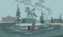 Size: 1280x747 | Tagged: safe, artist:agm, twilight sparkle, alicorn, pony, unicorn, snow, statue