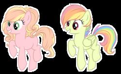 Size: 4208x2585 | Tagged: safe, artist:elskafox, oc, oc only, earth pony, pegasus, pony, absurd resolution, female, magical lesbian spawn, mare, offspring, parent:applejack, parent:fluttershy, parent:pinkie pie, parent:rainbow dash, parents:applepie, parents:flutterdash, simple background, transparent background