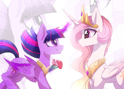 Size: 2480x1780 | Tagged: safe, artist:magnaluna, princess celestia, twilight sparkle, alicorn, pony, crown, cute, eye contact, female, flower, glowing horn, jewelry, lesbian, looking at each other, magic, mare, pink-mane celestia, regalia, shipping, simple background, twilestia, twilight sparkle (alicorn), white background, zoom layer