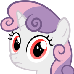 Size: 512x512 | Tagged: safe, artist:the smiling pony, sweetie belle, pony, unicorn, .svg available, bust, derpibooru badge, female, looking at you, perfectly normal pony, portrait, simple background, solo, svg, transparent background, vector