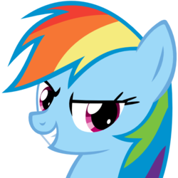 Size: 512x512   Tagged: safe, artist:the smiling pony, rainbow dash, pegasus, pony, .svg available, bust, cute, dashabetes, derpibooru badge, evil grin, female, grin, lowres, mare, portrait, simple background, smiling, smirk, solo, svg, transparent background, vector