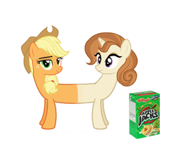 Size: 1693x1503 | Tagged: applejack, applejacks, cereal, cinnamon chai, conjoined, food, multiple heads, pun, safe, stuck together, two heads